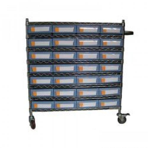 Wire Shelving Trolley With Shelf Bins